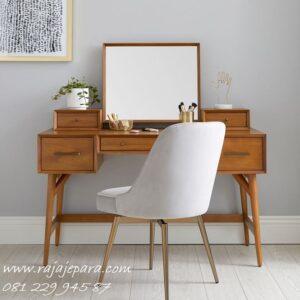 Model meja rias kayu jati minimalis modern dan mewah klasik terbaru 2020 desain set kursi dan kaca cermin Jepara laci sliding harga murah