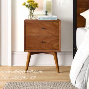 Nakas kayu jati minimalis mewah modern dan klasik terbaru model desain meja hias pajangan 2 laci ukir gambar Belanda Jepara harga murah
