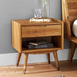 Nakas klasik minimalis mewah modern dan terbaru model desain meja hias pajangan 1 laci dan rak ambalan dari kayu jati Jepara jual harga murah