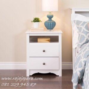 Nakas putih minimalis mewah modern dan klasik model 2 laci dan 1 rak desain cat duco warna terbaru meja lemari hias pajangan harga murah