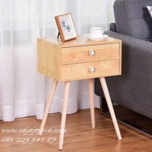 Nakas retro kayu jati Jepara model 2 laci desain minimalis mewah modern dan klasik terbaru unik kuno dan vintage meja ukuran kecil harga murah