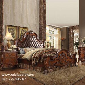 Tempat tidur mewah jati kayu Jepara model desain gambar set kamar ukir-ukiran mawar modern dan klasik jok busa terbaru harga murah