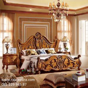 Tempat tidur mewah kayu jati Jepara model desain set kamar minimalis modern dan klasik ukir-ukiran mawar terbaru ukuran besar harga murah