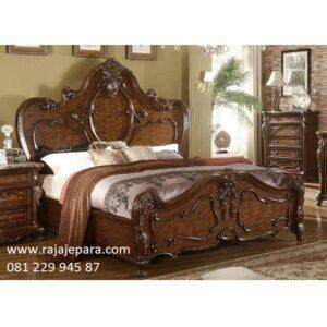 Tempat tidur mewah kayu jati harga murah model desain set kamar modern dan klasik terbaru ukir-ukiran motif gambar mawar dan kerang Jepara