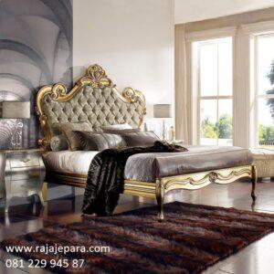 Tempat tidur mewah klasik kayu jati ukir ukiran Jepara warna emas tempel model desain set kamar minimalis modern dan klasik jok busa harga murah