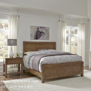 Tempat tidur minimalis klasik kayu jati Jepara model furniture set kamar dewasa desain mewah dan modern gambar terbaru retro vintage harga murah