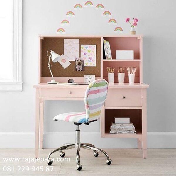 Meja belajar anak perempuan karakter kartun frozen atau hello kitty cantik yang bagus model desain minimalis modern mewah pink harga murah