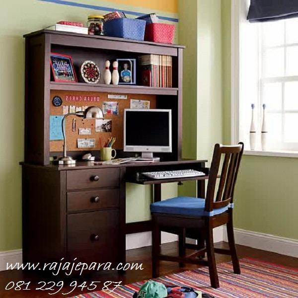 Meja belajar klasik anak perempuan dan laki-laki model desain set kursi dari kayu jati Jepara minimalis modern komputer terbaru harga murah
