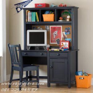 Meja belajar komputer minimalis modern dan klasik dari kayu jati dan mahoni model desain tempat gambar furniture anak expo terbaru harga murah