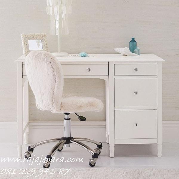 Meja belajar laci anak perempuan dan laki-laki model desain minimalis mewah modern dan klasik yang berlaci ada 4 lipat warna putih harga murah