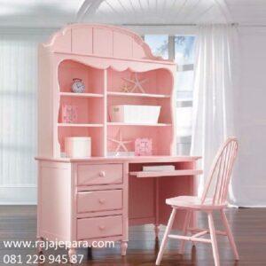 Meja belajar mewah anak perempuan model desain ukuran dewasa warna pink merah cat duco minimalis modern dan klasik terbaru harga murah