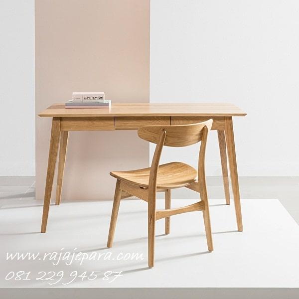 Meja belajar murah minimalis mewah dan klasik terbaru model desain set kursi kayu jati Jepara di Jakarta Bandung Jogja Surabaya harga termurah