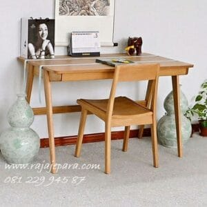 Meja belajar sederhana kayu jati dari Jepara model desain gambar minimalis klasik kuno buatan sendiri anak perempuan dan laki-laki harga murah