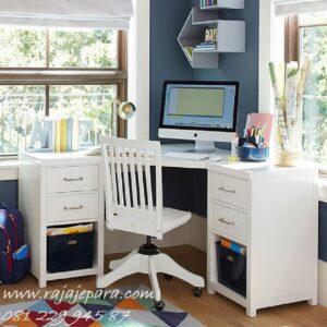 meja belajar sudut anak model desian gambar set kursi putar hidrolik warna putih minimalis modern dan pojok unik terbaru harga murah