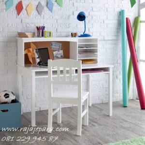 Meja belajar warna putih minimalis mewah modern dan klasik model desain set kursi terbaru untuk anak perempuan dan laki-laki harga murah