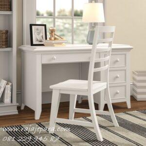 Set kursi meja belajar minimalis mewah modern dan klasik terbaru model desain 3 laci untuk anak perempuan dan laki-laki kayu Jepara harga murah