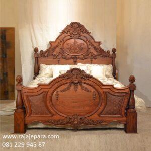Tempat tidur klasik kayu jati ukir ukiran terbuat dari Jepara model desain set kamar minimalis modern mewah kuno bagong terbaru harga murah
