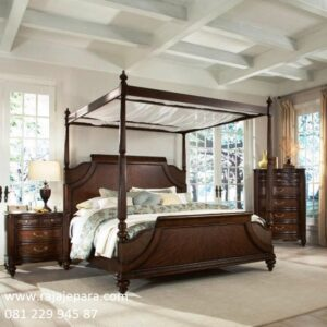 Tempat tidur klasik berkelambu kanopi dari kayu jati Jepara model desain set kamar kelambu minimalis modern dan mewah terbaru harga murah