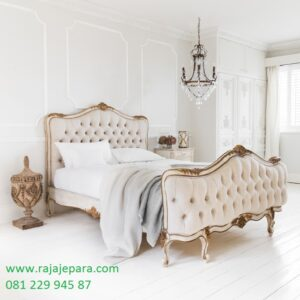 Tempat tidur klasik Eropa mewah dan modern minimalis terbuat jok busa model desain set kamar terbuat dari kayu jati dan mahoni harga murah