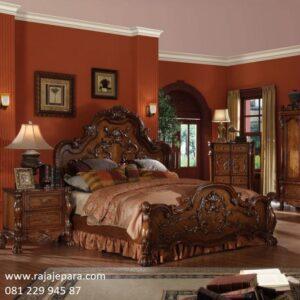Tempat tidur klasik Jepara kayu jati ukir ukiran motif bunga mawar model desain set modern dan mewah kuno terbaru kanopi harga murah