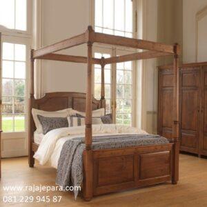 Tempat tidur klasik kanopi Jepara terbuat dari kayu jati tua solid model desain set kamar mewah dan modern berkelambu terbaru jual harga murah