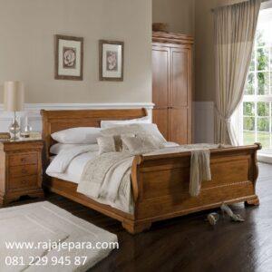 Tempat tidur klasik kayu jati Jepara model desain set kamar bagong minimalis mewah dan modern kuno ukiran terbaru ukuran dewasa harga murah