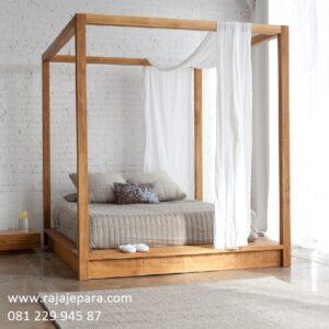 Tempat tidur klasik kelambu kanopi kayu jati tua solid Jepara berkelambu model desain set kamar minimalis modern mewah terbaru harga murah