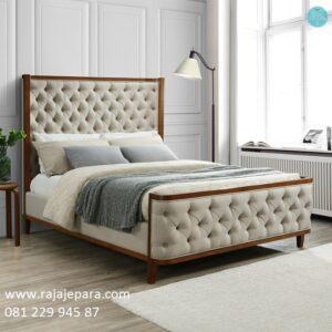 Tempat tidur klasik minimalis model desain set kamar modern dan mewah terbaru tebuat dari kayu jati Jepara sederhana elegan harga murah