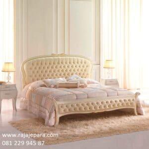 Tempat tidur mewah modern minimalis klasik terbaru model desian set kamar jok warna putih tulang cat duco kayu mahoni ukiran Jepara harga murah