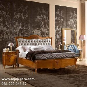 Tempat tidur mewah ukir Jepara kayu jati tua model desain set kamar ukiran motif bunga sederhana modern dan kuno klasik jok busa harga murah