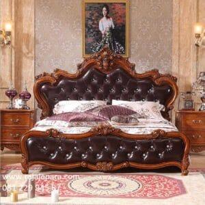 Tempat tidur mewah ukiran Jepara model desain set kamar kayu jati ukir motif kerang modern dan klasik kuno jok busa terbaru harga murah