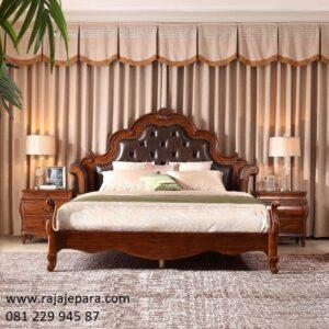 Tempat tidur mewah ukiran Jepara kayu jati ukir tua solid model desain set kamar modern dan kuno klasik terbaru jok busa harga murah