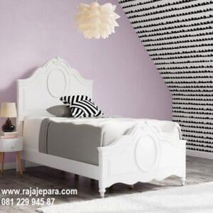 Tempat tidur anak klasik modern minimalis dan mewah terbaru model desain set kamar perempuan warna putih cat duco ukir Jepara harga murah