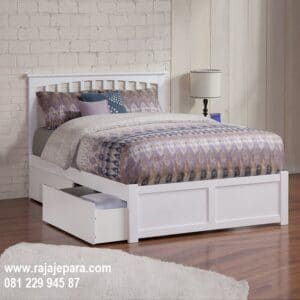Tempat tidur anak laci model desain set kamar berlaci bawah warna putih cat duco minimalis mewah modern dan klasik terbaru harga murah