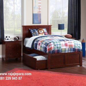 Tempat tidur anak laci bawah kayu jati Jepara model desain set kamar minimalis mewah modern dan klasik terbaru berlaci 3 harga murah