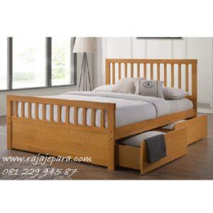 Tempat tidur anak laci samping kayu jati Jepara model desain set kamar perempuan dan laki-laki minimalis modern berlaci terbaru harga murah