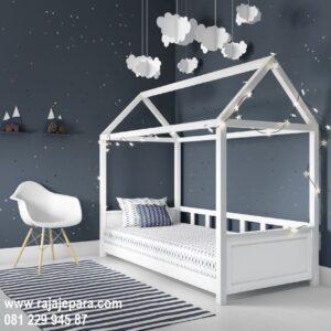 Tempat tidur anak modern minimalis model desain set kamar warna putih cat duco tiga laci multifungsi terbaru perempuan dan laki-laki harga murah