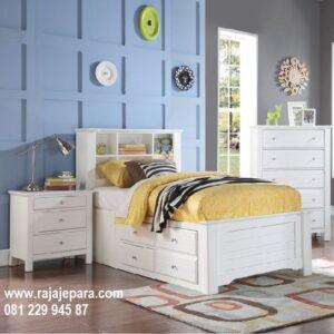 Tempat tidur anak multifungsi minimalis modern dan klasik funkids terbaru model desain warna putih cat duco kombinasi rak buku harga murah