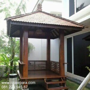 Gazebo kayu minimalis sederhana dan klasik model saung untuk taman rumah depan desain unik dari kayu jati dan kelapa ukuran 2x2 harga murah