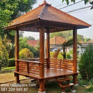 Gazebo kayu jati Jepara minimalis sederhana dan klasik ukiran mewah model saung hiasan taman dan kebun rumah desain terbaru harga murah