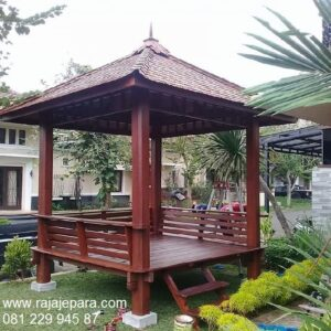 Gazebo minimalis modern dan klasik terbaru model desain saung untuk pantai dan taman rumah depan dari kayu jati Jepara harga murah