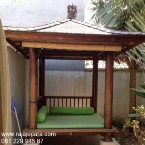 Gazebo minimalis modern depan rumah kayu kelapa atap sirap model desain saung sederhana untuk taman dan pantai ukuran 2x2 harga murah