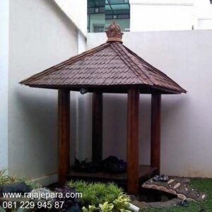 Gazebo modern minimalis moderno klasik unik terbaru model desain saung pantai taman kolam rumah dari kayu kelapa glugu Sulawesi harga murah