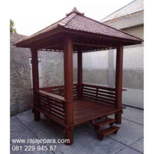 Gazebo sederhana dan murah dari kayu kelapa dan kayu jati Jepara ukuran 2x2 untuk taman dan kebun model desain saung minimalis harga murah