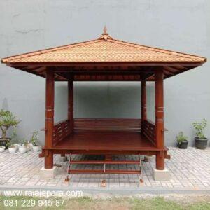Harga gazebo kayu jati dan glugu kelapa model desain saung minimalis sederhana untuk taman rumah dan kebun belakang ukuran 3x3 harga murah