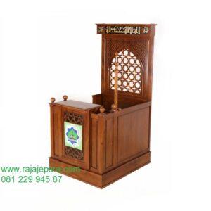 Harga mimbar masjid minimalis modern dan sederhana terbaru model desain podium ukuran standart khutbah Nabawi dari kayu jati Jepara murah