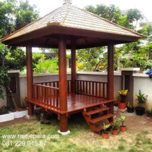 Jual gazebo kayu kelapa dan jati Jepara model desain saung taman rumah minimalis sederhana di Bali Bandung dna Jogja ukuran 2x2 harga murah