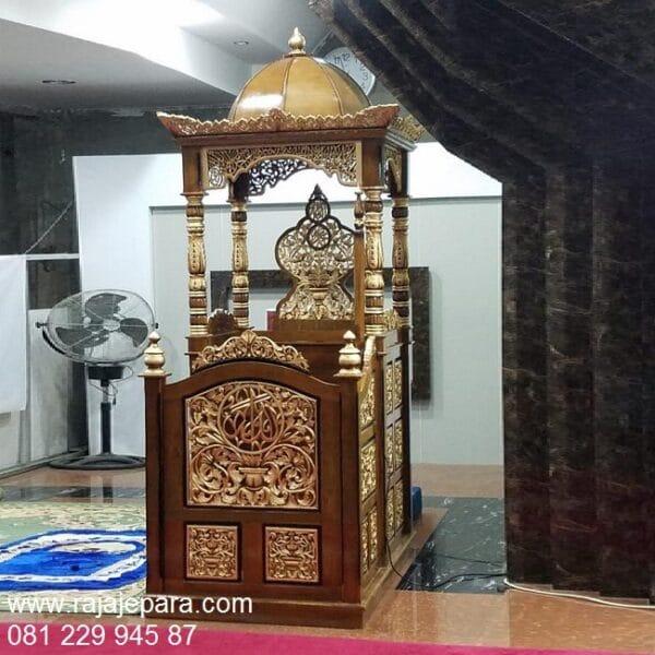 Mimbar masjid Jepara jati ukir-ukiran model desain podium khutbah atap kubah kayu minimalis modern mewah sederhana harga murah