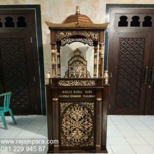 Mimbar masjid kubah emas model desain ukuran podium khutbah Nabawi kayu jati ukir-ukiran Jepara minimalis dan sederhana harga murah