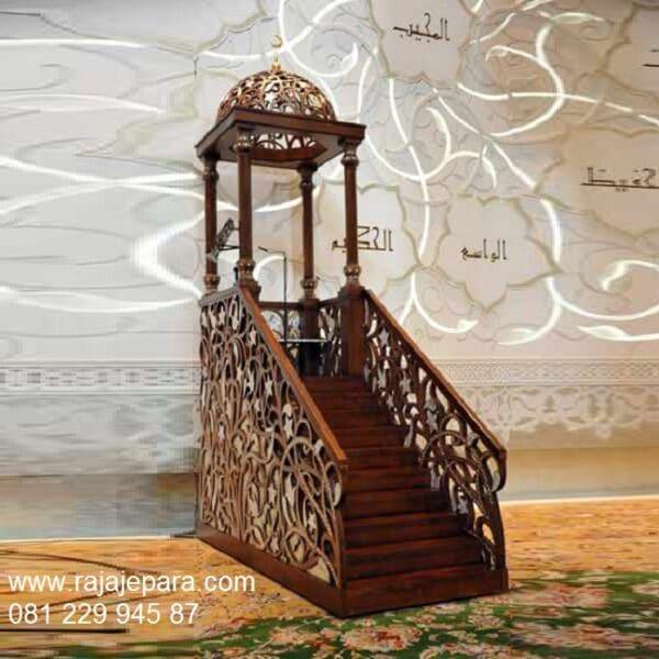 Mimbar masjid mewah kubah Nabawi model desain podium khutbah kayu jati ukiran Jepara minimalis sederhana ukuran tangga tinggi harga murah